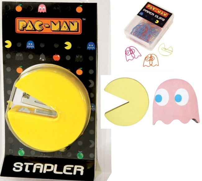 pac man office supplies Pac Man Stapler, Paperclips and Sticky Notes