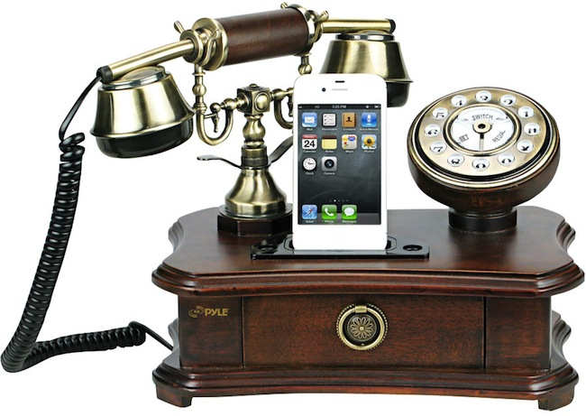 pyle retro phone Rotary Style Retro Home Telephone and Charger for iPhones