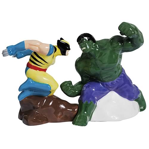 Hulk v. Wolverine Salt and Pepper Shakers