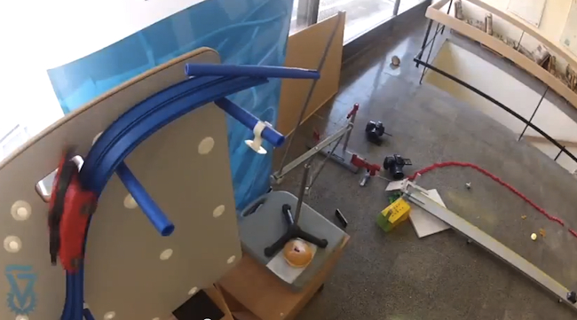 Rube Goldberg Machine Lights a Hanukkah Menorah
