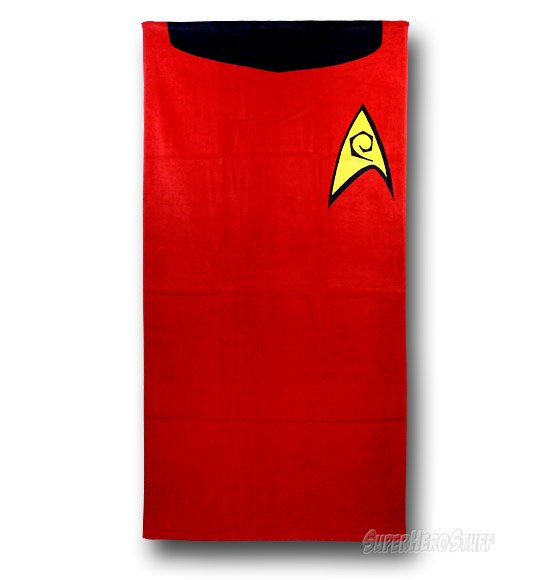 star trek redshirt towel Star Trek Red Shirt Towel: Dont Go in the Water!