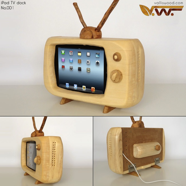 wood ipad tv dock Wood iPad Retro Television Dock