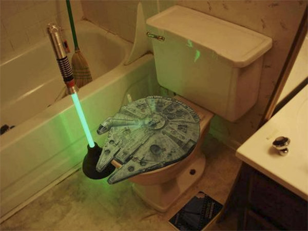 Lightsaber Toilet Plunger and Millennium Falcon Toilet Seat
