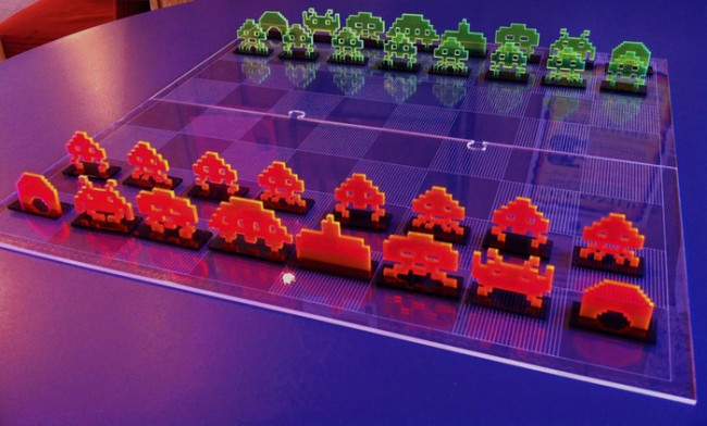 space invaders chess 650x392 Laser Cut Space Invaders Chess Set
