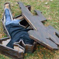 crime scene pose coffin
