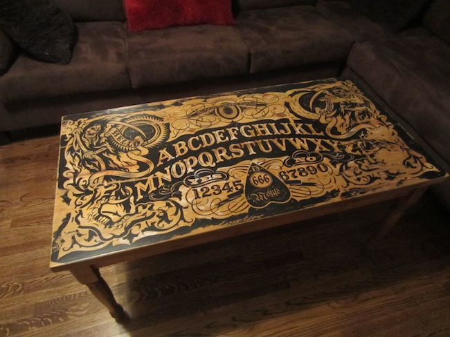 ouija board table finished Ouija Board Coffee Table