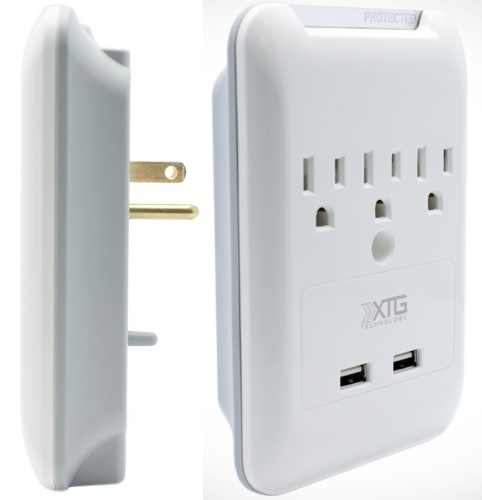 Wall Mounted Surge Protector with USB Ports