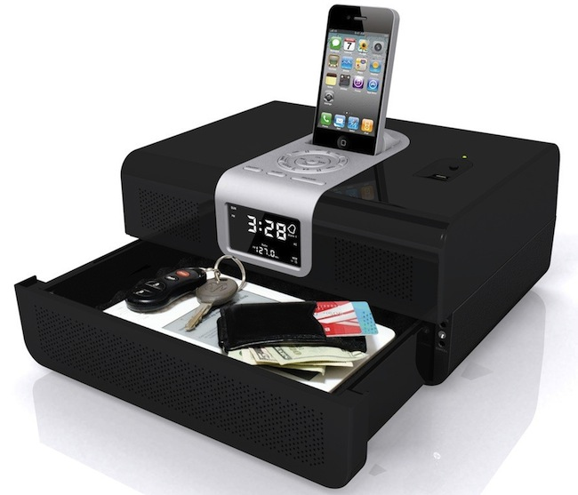 iPhone Radio Dock with Hidden Safe Drawer