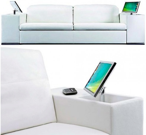 sofa with lcd monitors in the armrests craziest gadgets. Black Bedroom Furniture Sets. Home Design Ideas