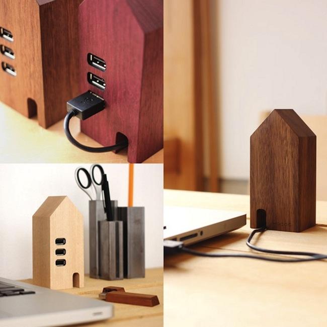 Hacoa Wooden USB Hub House