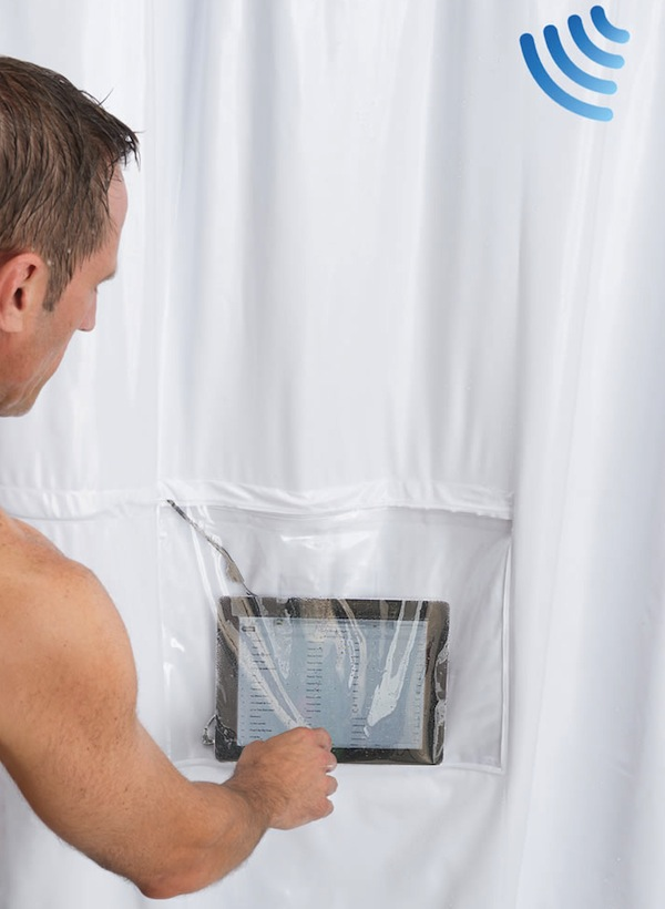 Shower Curtain with Speakers and iPad Pocket