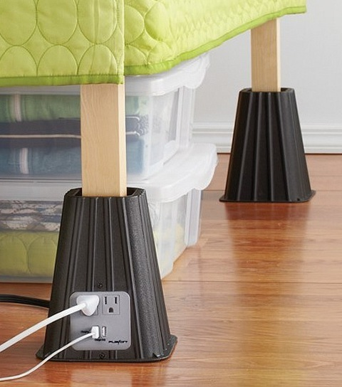 Bed Risers with USB Power Strip