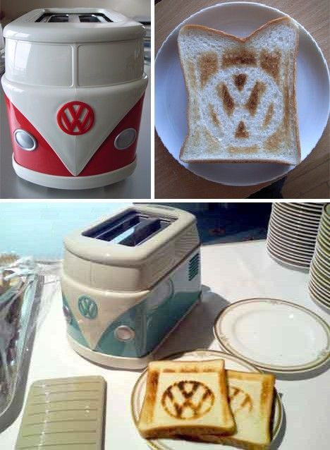 VW Bus Toaster Imprints a VW Logo on Toast