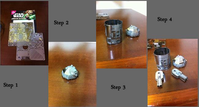 R2D2 Metallic Puzzlesteps Star Wars Metallic Nano Puzzles