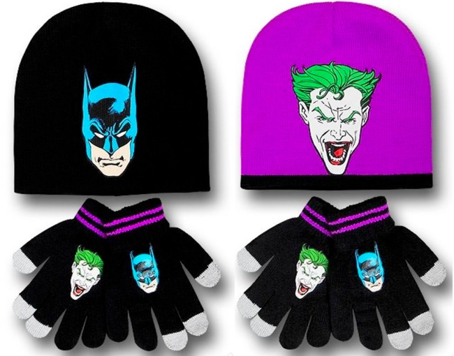 Reversible Batman and Joker Hat and Glove Set