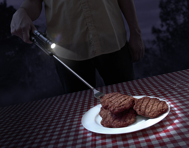 Tactical BBQ Fork with Laser and Flashlight
