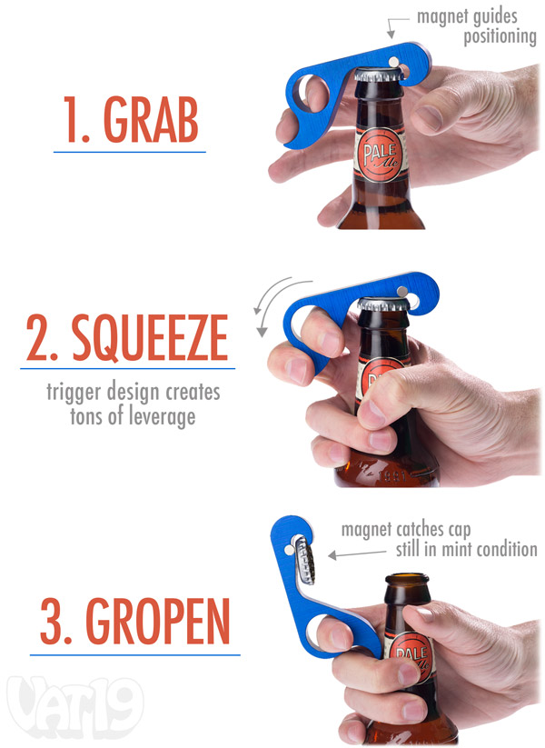 one hand bottle opener Random