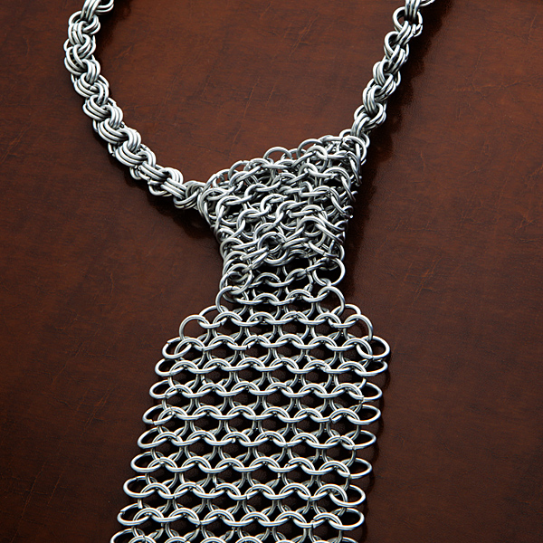 chain mail necktie closeup