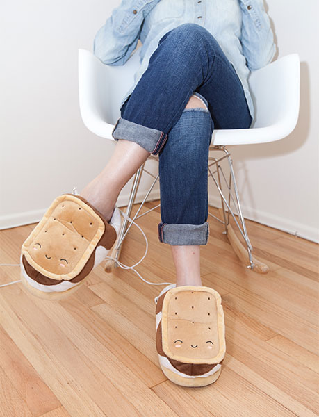 USB Heated Plush Smores Slippers