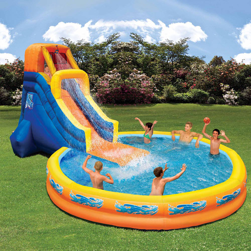 The plunge water slide and pool craziest gadgets for Children s garden pools