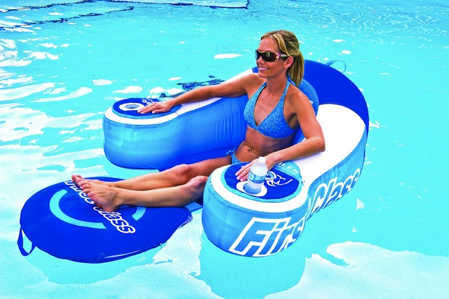 Pool Lounger with Drink Cooling Armrests