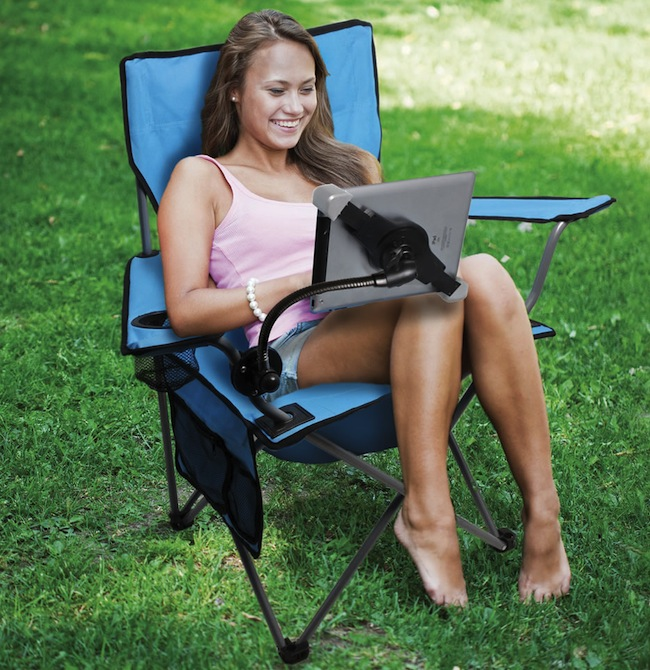 ipad camping chair in use