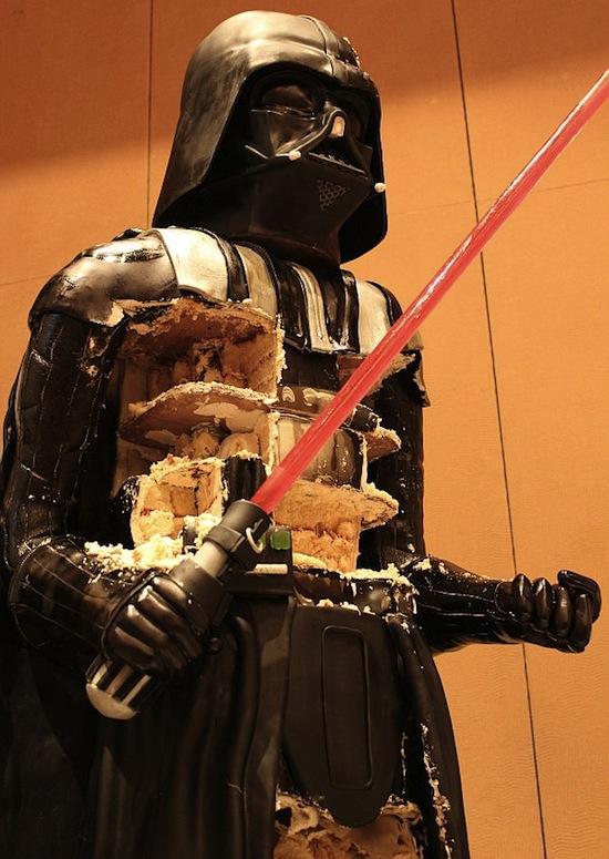 darth vader cake sliced