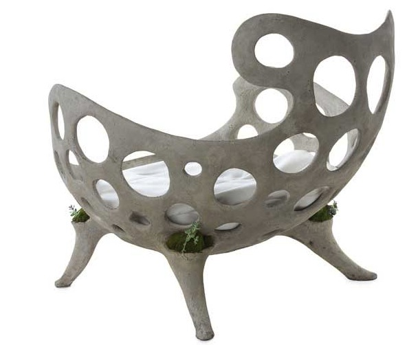 concrete furniture with plant pockets chair