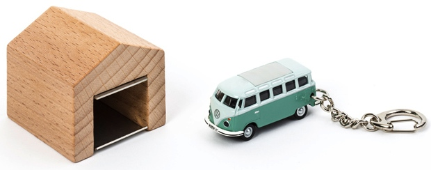 VW Bus Keychain Slips into a Mini Garage