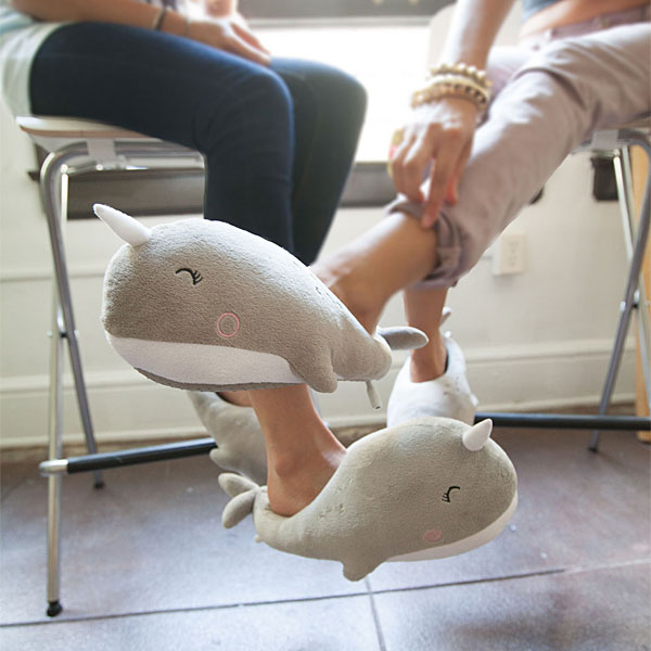 Plush Narwhal USB Heated Slippers