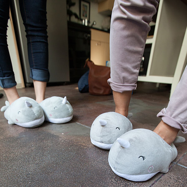 narwhal slippers Plush Narwhal USB Heated Slippers