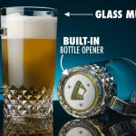 Glass Beer Mug with Bottle Opener