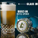 Glass Beer Mug with Bottle Opener