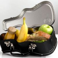 guitar case lunch box open