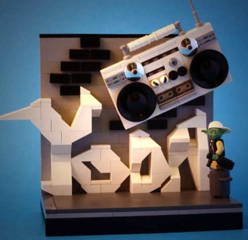 LEGO Yoda with a Boombox